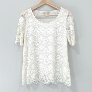 Banana Republic Factory ivory/cream lace blouse